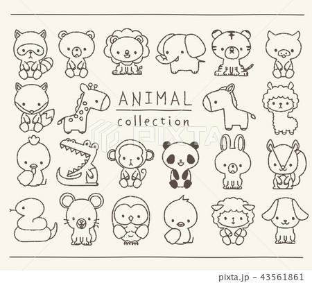 動物のセット 線画 手描き風のイラスト素材 [43561861] , PIXTA