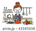 イラスト素材:主婦、料理 43565036