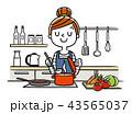 イラスト素材:主婦、料理 43565037