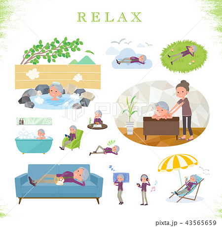 flat type Purple clothes grandmother_relax 43565659