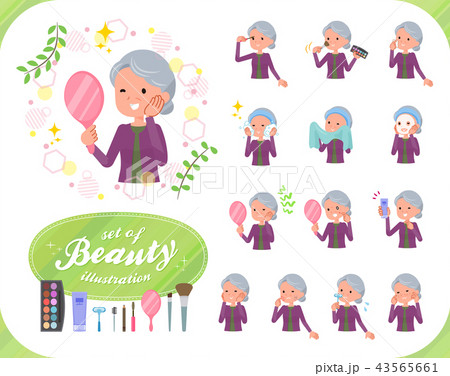flat type Purple clothes grandmother_beauty 43565661