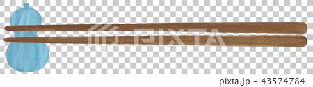 手描き 食器 箸と箸置き 43574784