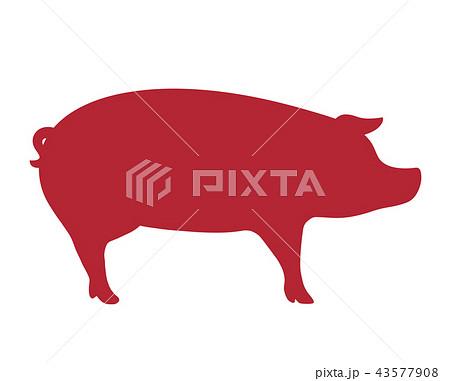 豚シルエットのイラスト素材 43577908 Pixta