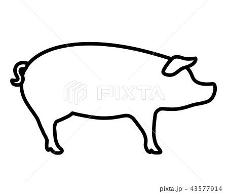 豚シルエットのイラスト素材 43577914 Pixta