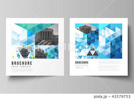 The minimal vector illustration of editable layout of two square format covers design templates for 43579753
