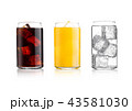 Glasses of cola and orange soda drink and lemonade 43581030