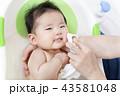 新生児の入浴・沐浴方法を説明するマニュアル用写真、洗髪・洗顔後の拭き方、仕上げ 43581048