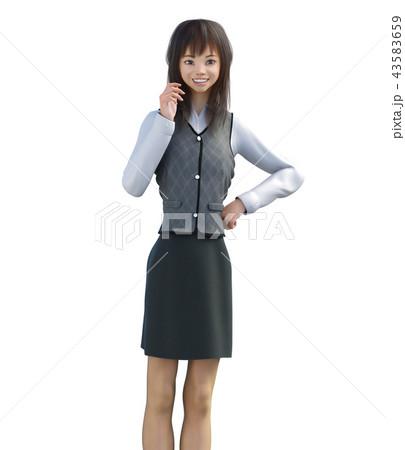 笑顔で話すビジネスガール perming3DCGイラスト素材 43583659