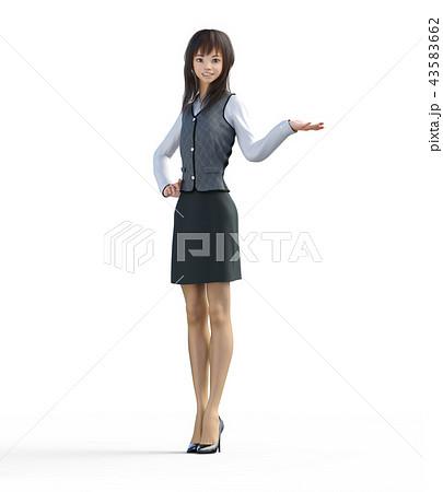 案内するビジネスガール perming3DCGイラスト素材 43583662
