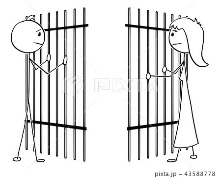 cartoon of a couple of man and woman divided by prison barsの