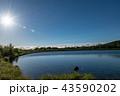 朝日と湖面 43590202