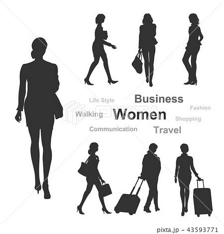 女性シルエット(ビジネス/買物/旅行) 43593771