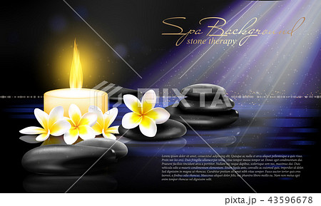 Still life with Spring blossom with white candle and black stones on dark background. Vector spa 43596678