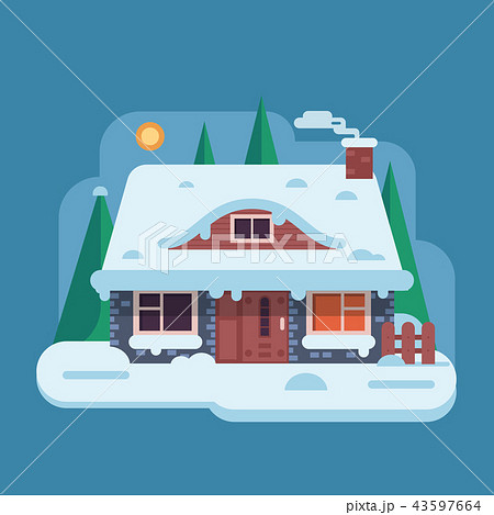 Winter Rural House with Chimney 43597664