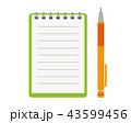 メモ帳 ノート シャーペンのイラスト 43599456