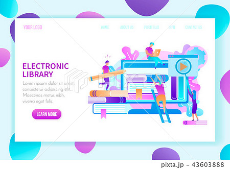 online library landing page vector templateのイラスト素材 43603888