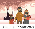Family in gas masks on smoking inustrial chimney background. Environmental problems, air pollution 43603903