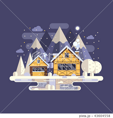 Winter Mountain House with Chimney 43604558