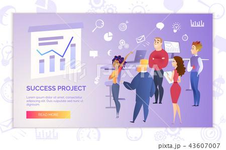 success project presentation cartoon vector bannerのイラスト素材