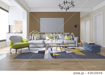 living room with minimal decor 43610049