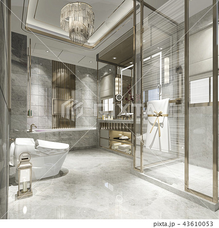 modern bathroom with luxury tile decor  43610053