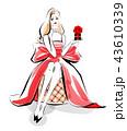 バレンタインの贈り物 赤ドレス 43610339