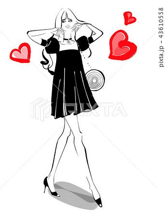 モデルウォーク 黒ドレス 43610558