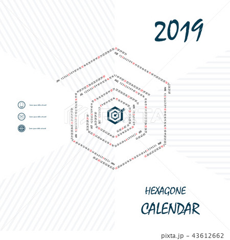 2019 Hexagonal Calendar Template.Hexagon shape 43612662