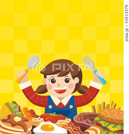 A Girl with spoon and fork going to eat Foods. 43613976