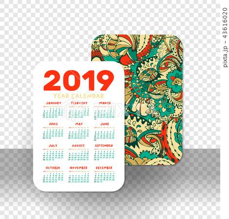 2019 calendar template for pocket calendar basic grid のイラスト