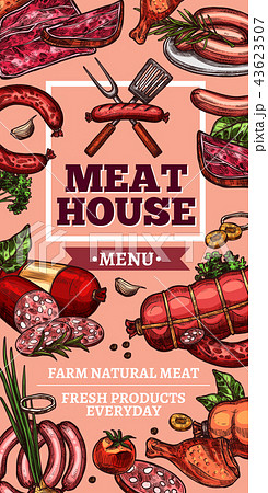 Meat delicatessen and sausages vector sketch 43623507