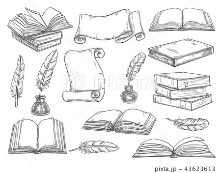 Retro books and literature quills vector sketch 43623613