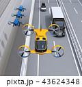 高速道路に隊列走行している大型トラック、配達ドローンとドローンタクシーのイメージ。 43624348