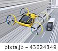 高速道路の上空を飛行している黄色ドローンタクシーのイメージ。 43624349