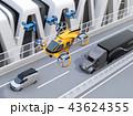 空を飛ぶドローンタクシーと配達ドローン、高速道路に走行しているトラックと配達車のイメージ。 43624355