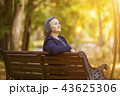 Elderly woman sitting on a bench in autumn park 43625306