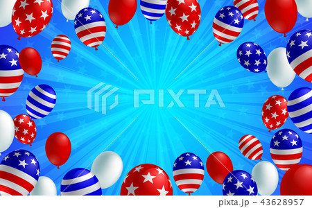 american flag balloon background poster bannerのイラスト素材