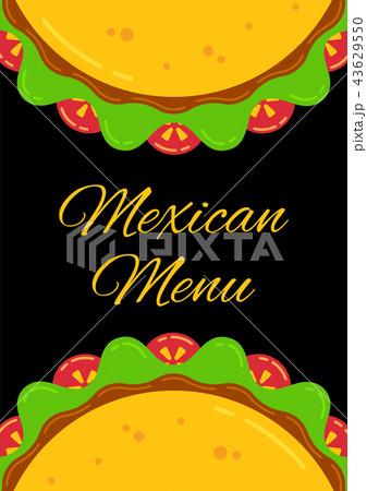 mexican cuisine delicious taco menu templateのイラスト素材 43629550