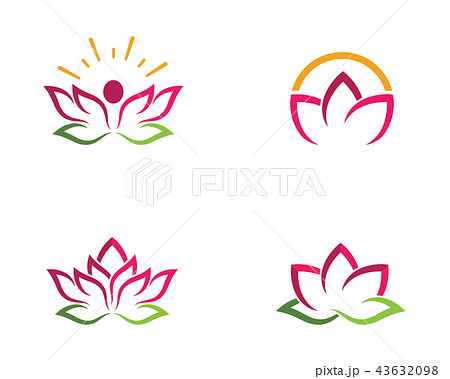 beauty lotus flowers design logo template iconのイラスト素材
