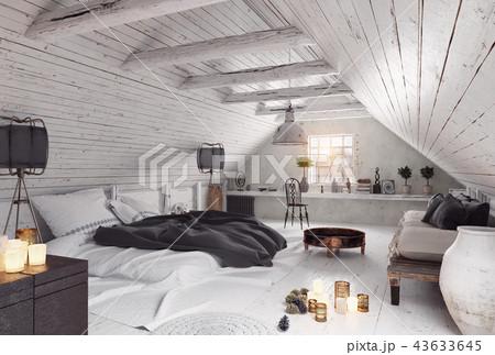 modern attic bedroom design. 43633645