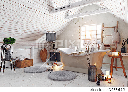 attic bathroom interior. 43633646