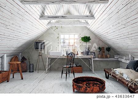 attic bathroom interior. 43633647