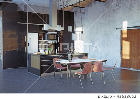 modern loft kitchen interior. 43633652