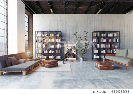 modern loft lving room. 43633653