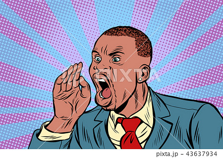 African Businessman shouts calling 43637934