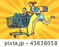 pop art woman with man in a shopping trolley 43638058