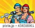 strong workers, man and woman. labor day. equality 43638061