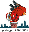 Ecology factory pipe, dirty air face mask. Santa Claus with gift 43638067