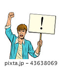 A man protests with a poster. Isolate on white background 43638069