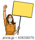 woman in medical mask protests with a poster. isolate on white b 43638070